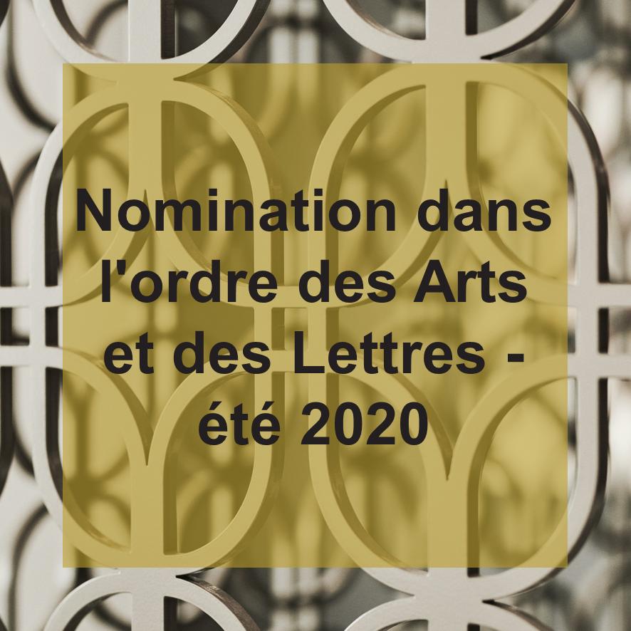 UGGC - Nomination dans lordre des arts et des lettres ete 2020
